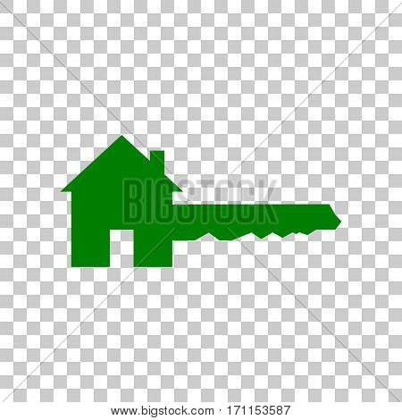 Home Key sign. Dark green icon on transparent background.
