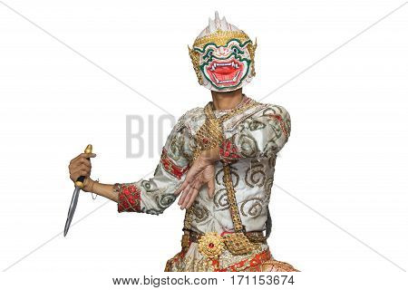 Hanuman mask in Thai classical style of Ramayana story isolated on white background