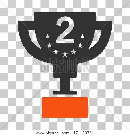 Second Prize Cup icon. Vector illustration style is flat iconic bicolor symbol orange and gray colors transparent background. Designed for web and software interfaces.