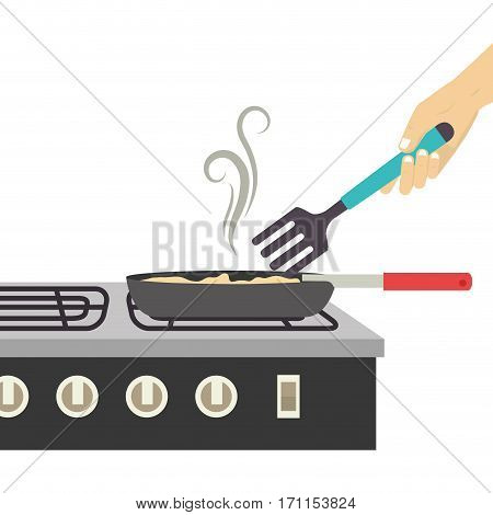 colorful silhouette stove with frying pan vector illustration