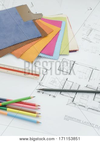 Architectural Plan With Color Pencil And Color Palette