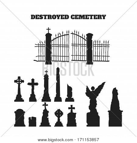 Black silhouettes of tombstones, crosses and gravestones. Elements of cemetery. Vector illustration