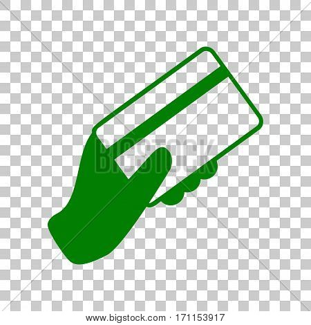 Hand holding a credit card. Dark green icon on transparent background.