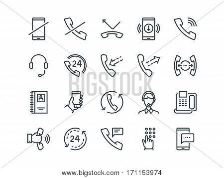 Phone. Set of outline vector icons. Includes such as Calls, Online Support, Mobile Phone and more. Editable Stroke. 48x48 Pixel Perfect
