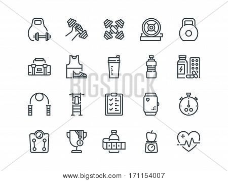 Sport. Set of outline vector icons. Includes such as Fitness Tracker, Cardio monitor, Bodybuilding equipment and other