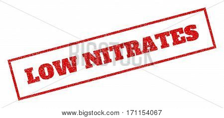Red Rubber Seal Stamp With Low Nitrates Text. Vector Message Inside Rectangular Banner. Grunge Desig