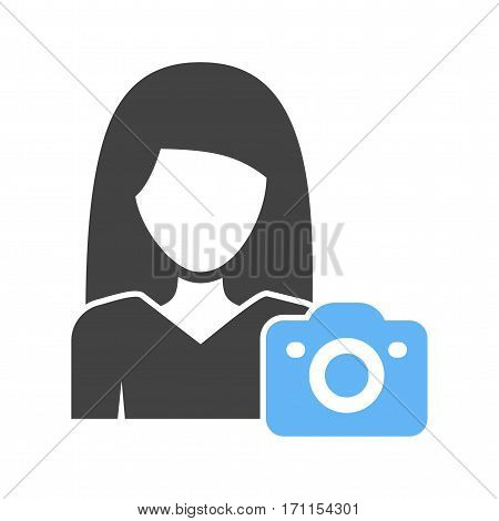 Photo, photographer, camera icon vector image. Can also be used for women. Suitable for use on web apps, mobile apps and print media.