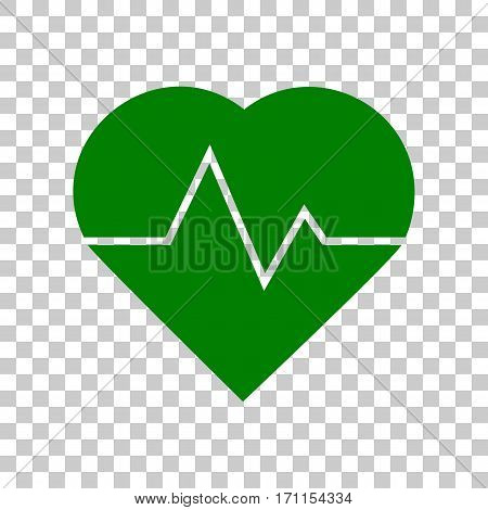 Heartbeat sign illustration. Dark green icon on transparent background.