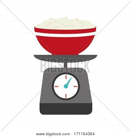 full color kitchen weight scale with bowl and mixture vector illustration