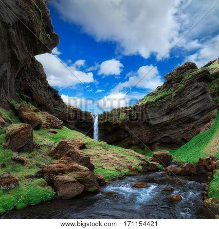 Summer day near Kvernufoss waterfall, south Iceland, Europe.