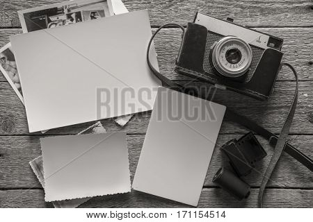 photography concept with old camera and photos