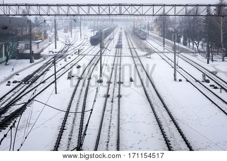 railway station in winter time