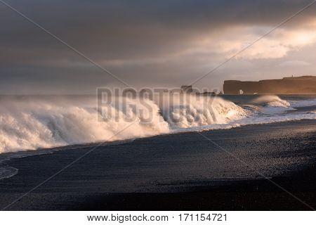 Large waves on black beach, Reynisdrangar, Vik, Iceland