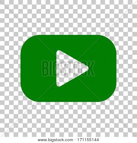 Play button sign. Dark green icon on transparent background.