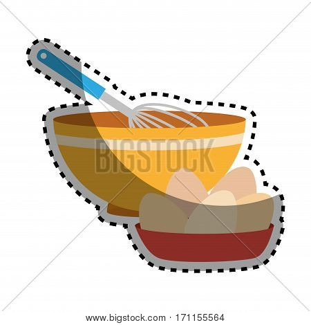 sticker set of colorful dish with hand beayer and eggs vector illustration