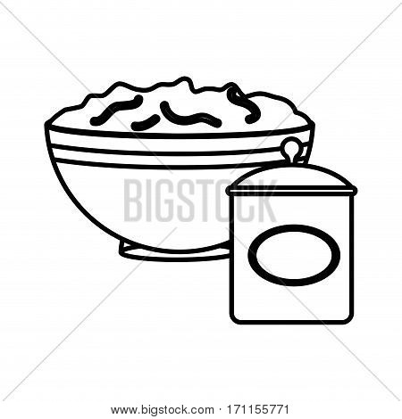 silhouette bowl with mixture and salt container vector illustration