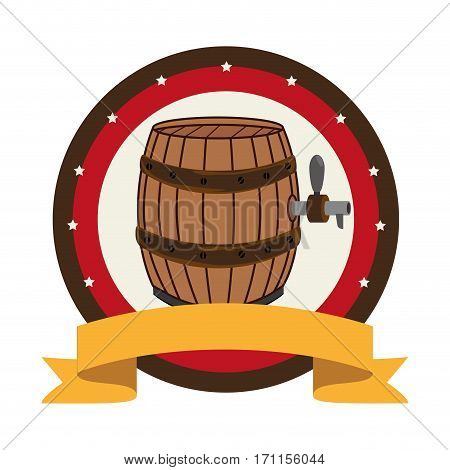 circular stamp with beer barrel and label vector illustration