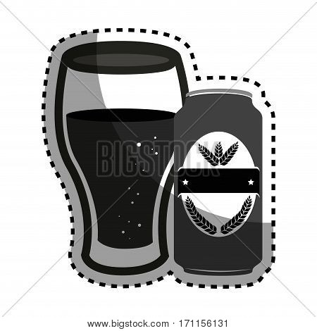 sticker silhouette canned drink with glass cup of beer vector illustration