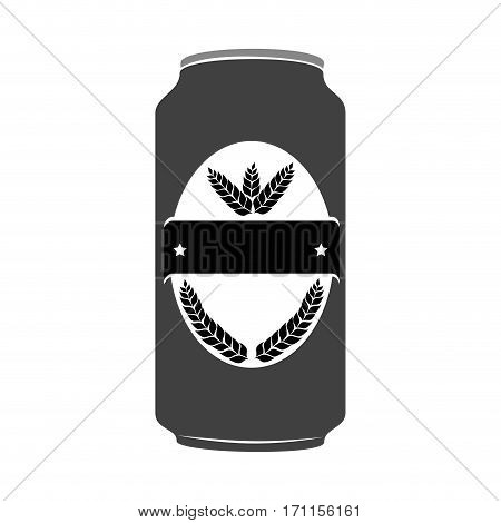 silhouette canned drink with label leaves inside vector illustration