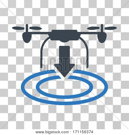 Drone Landing icon. Vector illustration style is flat iconic bicolor symbol smooth blue colors transparent background. Designed for web and software interfaces.