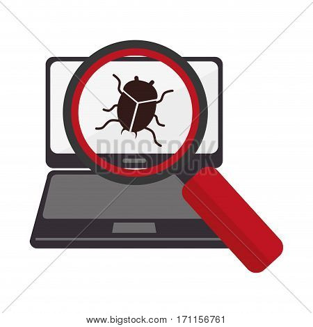 tech laptop with loupe and beetle virus vector illustration
