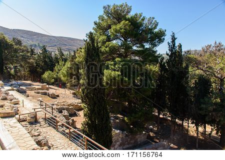 Ruins in Crete. Attractions of a beautiful city