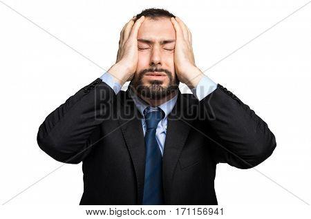 Stressed businessman portrait