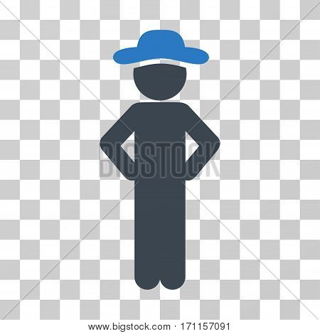 Gentleman Akimbo icon. Vector illustration style is flat iconic bicolor symbol smooth blue colors transparent background. Designed for web and software interfaces.