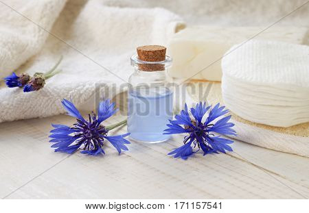 Blue cornflower liquid herbal extract in bottle, fresh flower, bathroom accessories. Natural skin cleansing ingredients.