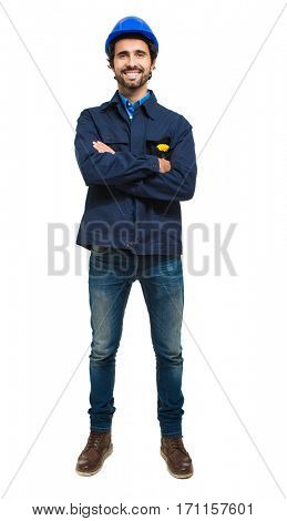 Site manager portrait full length. Isolated on white