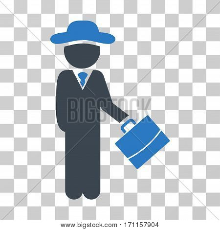 Gentleman Manager icon. Vector illustration style is flat iconic bicolor symbol smooth blue colors transparent background. Designed for web and software interfaces.