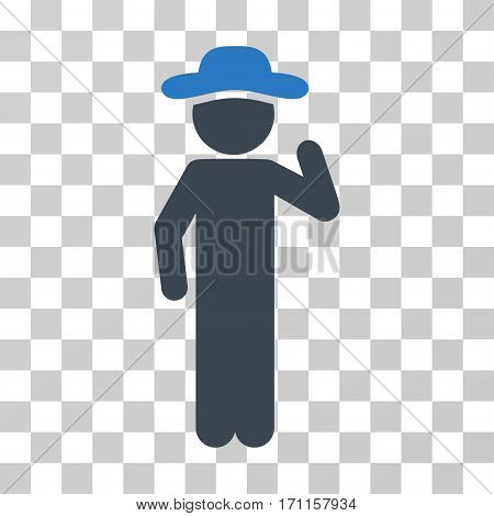 Gentleman Opinion icon. Vector illustration style is flat iconic bicolor symbol smooth blue colors transparent background. Designed for web and software interfaces.