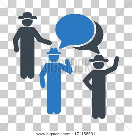 Gentlemen Discussion icon. Vector illustration style is flat iconic bicolor symbol smooth blue colors transparent background. Designed for web and software interfaces.