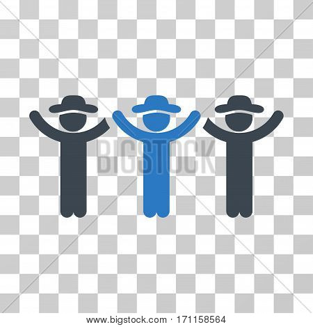 Gentlemen Hands Up Roundelay icon. Vector illustration style is flat iconic bicolor symbol smooth blue colors transparent background. Designed for web and software interfaces.