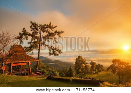 Morning sunrise over mist with tourist and Huai Nam Dang National Park Chiang Mai Thailand landscape travel and nature concept