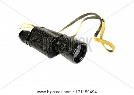 vintage black monocular spyglass isoalted on white background