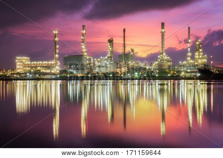Oil refinery industry oil tank and camical industrial plant and factory concept