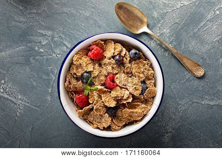 Multigrain wholewheat healthy cereals with fresh berry for breakfast overhead shot with copyspace
