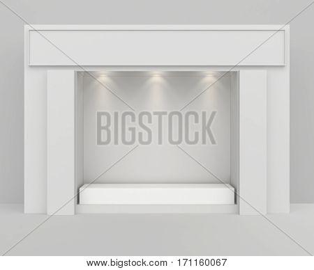 Front view of shop exterior design with pedestal. Mock up, 3D Rendering