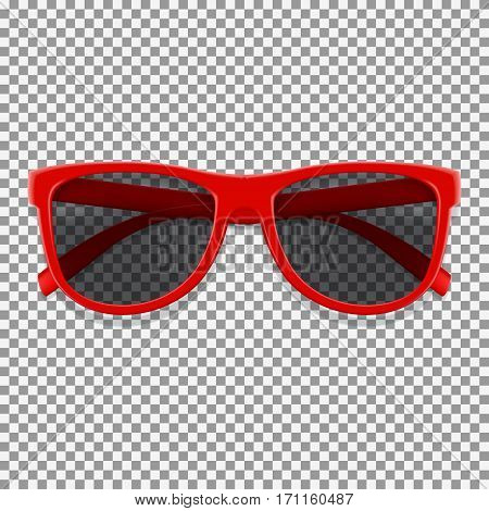 Red sun glasses isolated on transparent backdrop. Vector illustration with fashion summer accessory.