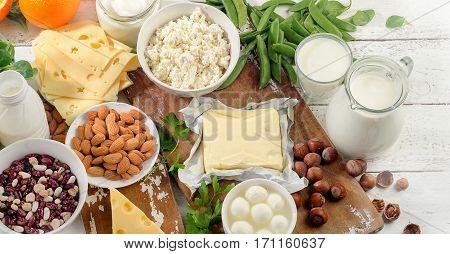 Foods Rich In Calcium. Healthy Diet Food.