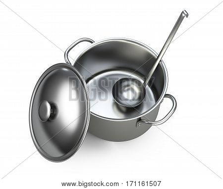 Stainless saucepan ladle and lid top wiev. Isolated over white background 3D illustration.