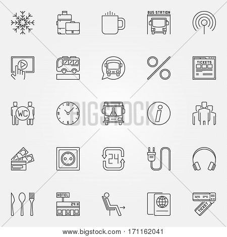 Bus icons set - vector onboard facilities and tourist coach bus symbols or logo elements in thin line style