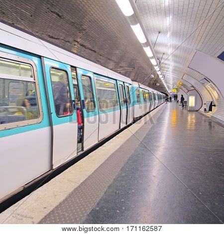 Paris, France, February 12, 2016: metro train in Paris, France. Metro is very popular transport in Paris