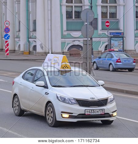 St. Petersburg, Russia - March, 13, 2016: Taxi car in the center of St. Petersburg, Russia.