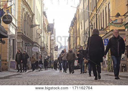 Stockholm, Sweden - April, 6, 2016: view of an old town of Stockholm, Sweden