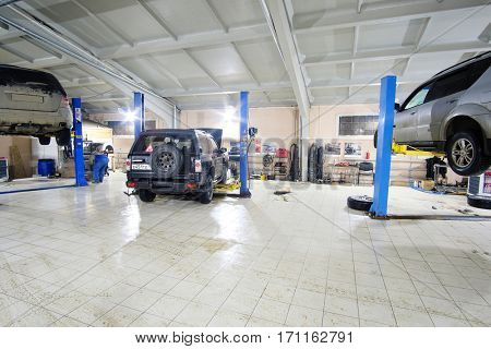 Stupino, Russia - February, 10, 2017: Working day in the car repair station in Stupino, Russia