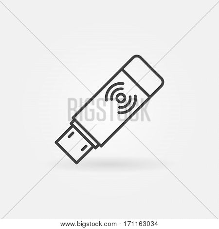 USB Wireless receiver icon - vector minimal USB Wi-Fi adapter concept symbol or design element