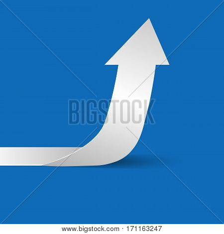 White Arrow On A Blue Background Eps 10 Vector.