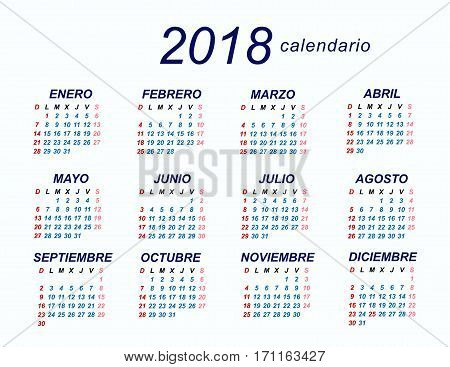 2018 Spanish Calendar template designs background .